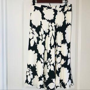 Black and White Floral Midi Skirt 100% Silk